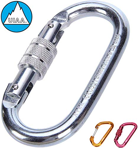 O-Shaped Steel Climbing Carabiner(25kn=5600lb) Screw Lock Spring Gate,CE UIAA Rated Heavy Duty Carabiners for Rock Climbing Rappelling Hiking Hanging Ropes Camping | Large Locking Carabiner