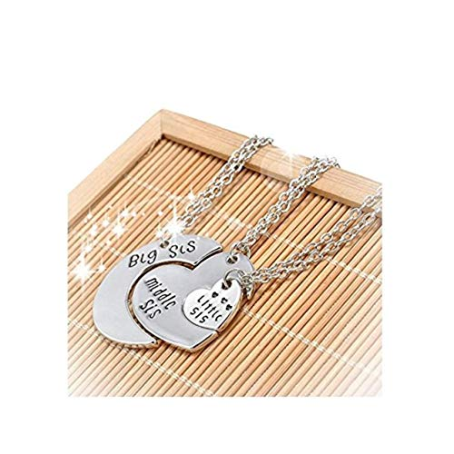 Middle Little Sister Heart Pendant Silver Plated Necklace ()