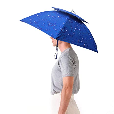 Luwint Hands Free Umbrella Hat - 31   Diameter Windproof Elastic for  Fishing Gardening in a54e46807619