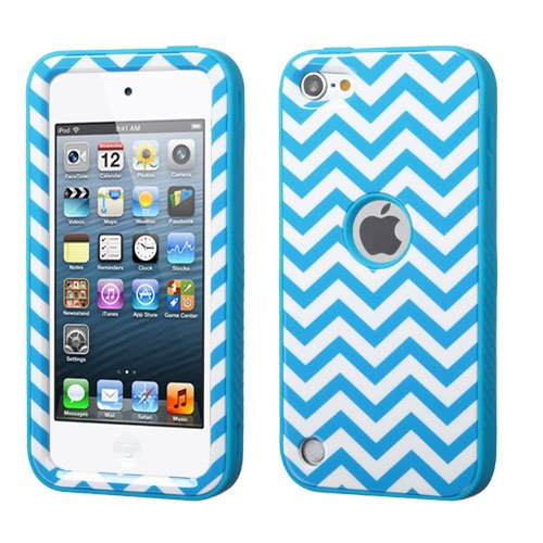 Apple iPod Touch 6th, 5th Generation Case - Wydan (TM) VERGE TUFF Hybrid Hard Shockproof Case Protective Cover - Blue Chevron