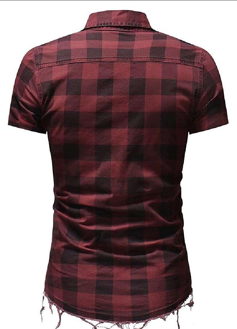 Esast Mens Plaid Button Slim Fit Short Sleeve Shirt