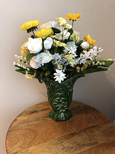 - Forever Flower yellow and white roses, lily of the valley, daisies, white bellflowers in a vintage McCoy vase