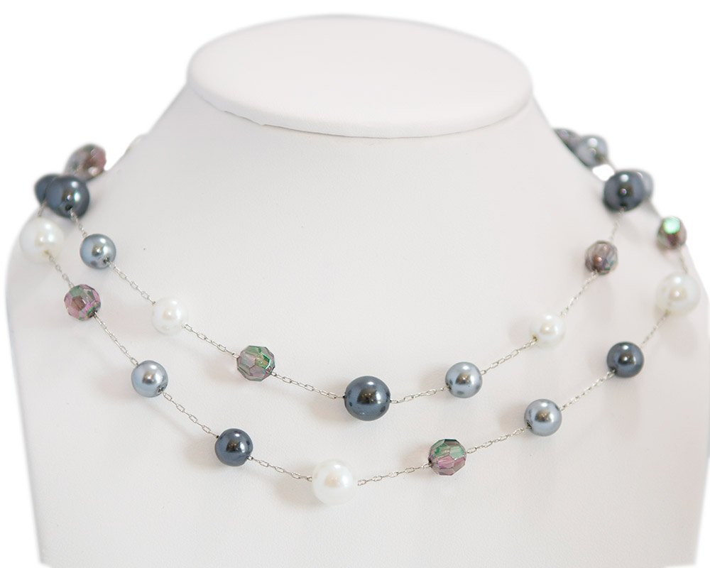 Double Row Gunmetal, Silver & White Faux Pearls with Crystal Beads