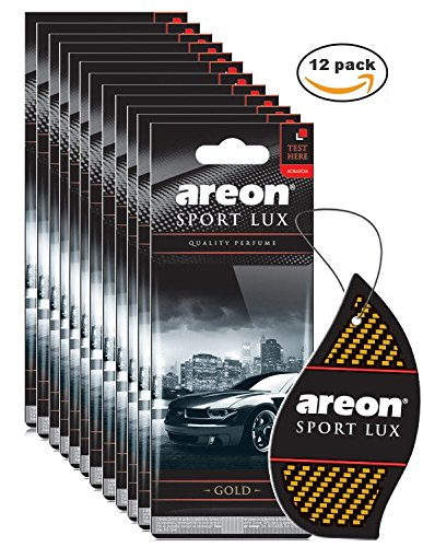 AREON SPORT LUX QUALITY PERFUME/COLOGNE CARBOARD CAR AND HOME AIR FRESHENER,(12 PACK, GOLD)
