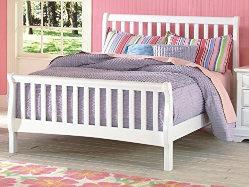 NCF Furniture Beatrice Youth Full Sleigh Bed in White Finish