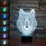Threetoo Animal Wolf Decor 3D Night Light Table Desk Optical Illusion Lamps 7 Color Changing Lights