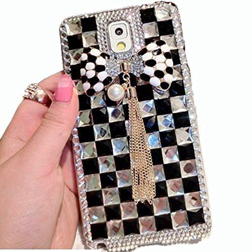 BlingDevil Cases® DIY Crystal Rhinstone Glitter Handmade Royal Elegant Black Pearl Case Cover for Samsung Galaxy S6 Edge