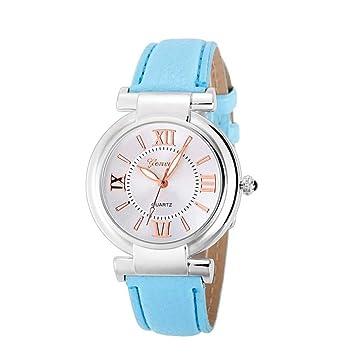 WZFCSAEAE Relojes Mujer Relojes Mujer 2018 Niña Números Romanos Banda de Cuero Reloj de Pulsera de Cuarzo Reloj Saat Relogio Regalo Feminino, ...