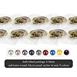 50PCS of Mixed 9 Colors Individual Packed 6-8mm Saltwater Round Akoya Cultured Pearl Oyster