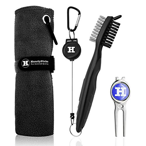 Handy Picks Microfiber Golf Towel (16 X 16) with Carabiner, Club Brush, Golf Divot Repair Tool with Ball Marker - Golf Accessories, Ideal for Golfers - 3 in 1 Golf Cleaning Kit (Pack of 3, Black)