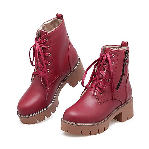 Soft Zipper Round Claret Kitten Women's Heels Closed Material Boots Top Low Allhqfashion Toe wqBU5