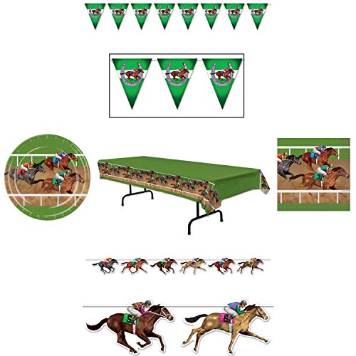 Horse Racing Derby Party Supplies, Beistle Tableware for 16: Plates, Napkins, Table Cover, Banner, Streamer Decorations, Wildflower Party Planner -