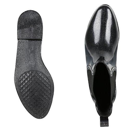 napoli-fashion - Botas de agua Mujer Schwarz Glitzer