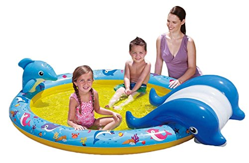Banzai 01428 - Slide N' Splash Whale Pool Kinderpool Wal mit Rutsche