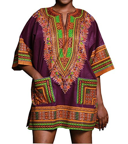 Cortas Africano Dashiki Mangas Caftán Gladthink Vestir Púrpura Cultural Mujer w6ZqR6xgP