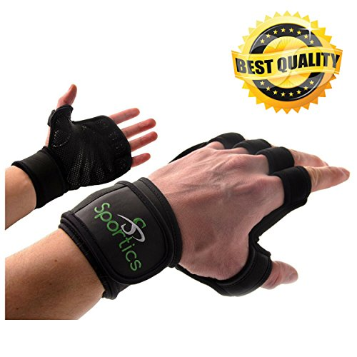 Sportics Cross Fit Gloves – Ideal as Workout, Cross Fitness, Workout, Exercising or Weightlifting Gloves – High Breathability, Adjustable Velcro Design – Built-In Wrist Wraps (S)