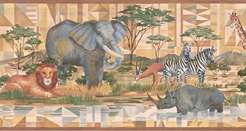(Jungle Animals Wallpaper Border CC804B)