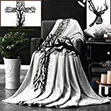 Unique Custom Double Sides Print Flannel Blankets Baptism Decorations Collection Floral Christian Cross In Tree Shape Christ Religion Pr Super Soft Blanketry for Bed Couch, Twin Size 80 x 60 Inches