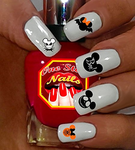 Simple Halloween Designs For Nails (Mickey and Minnie Halloween V1 clear waterslide nail art decals (tattoos). Set of 57 by One Stop)