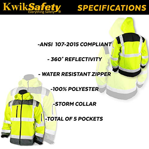 KwikSafety (Charlotte, NC) GALAXY Class 3 SoftShell Safety Jacket | ANSI Water Resistant Lightweight Reflective Hi Vis PPE Detachable Hood| Wind Rain Construction, Men Women Yellow | XX-Large by KwikSafety (Image #5)