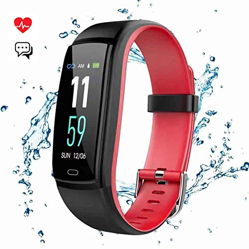 Mgaolo Fitness Tracker Smart Watch Activity Tracker Sports Band Bracelet Waterproof Bluetooth Wristband with Heart Rate Monitor Pedometer Sleep Monitor Calorie Step Counter Blood Pressure(Red) ()