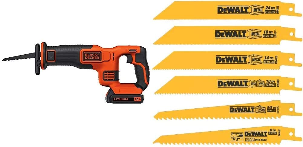 BLACK+DECKER BDCR20C 20V MAX Reciprocating Saw with Battery and Charger & DEWALT Reciprocating Saw Blades, Metal/Wood Cutting Set, 6-Piece (DW4856),Metallic