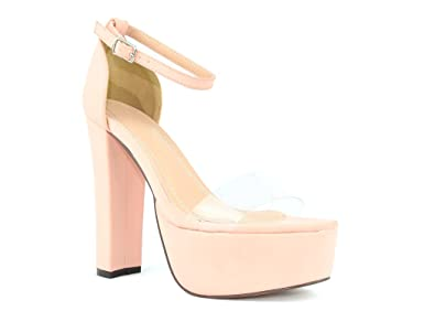32484b2be2b Chase   Chloe Cairo-5 Open Toe Chunky Heel Platform Sandal with Ankle Strap  Closure