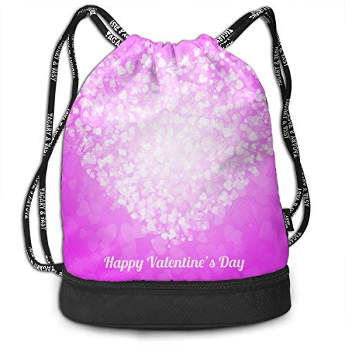 Polyester Drawstring Sack Theft Proof Waterproof Large Shoulder Bags Large Capacity For Basketball, Volleyball, Baseball, Sports & Workout Gear (Purple Love Heart) -