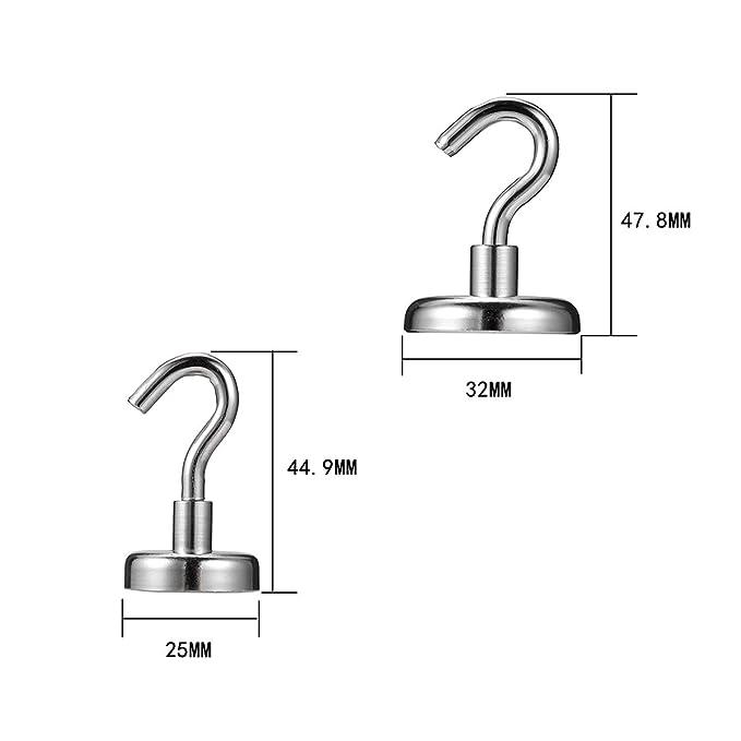 4 ganchos magn/éticos de neodimio hierro boro para colgar poderosos ganchos magn/éticos para uso en interiores o exteriores Qian Ya TM