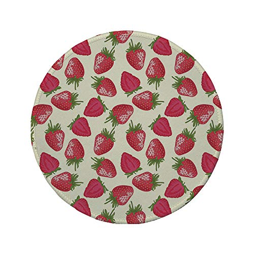 Non-Slip Rubber Round Mouse Pad,Fruits,Strawberries Vivid Growth Plant Vitamin Organic Diet Refreshing Image Decorative,Eggshell Red Olive Green,7.87