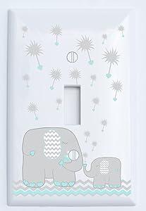 Single Toggle Grey and Green Dandelion Elephant Light Switch Plates Covers/Elephant Nursery Decor (Seafoam Green)