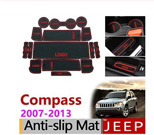 linfei rutschfeste Gummimatten Gate Slot Cup Mat F/ür Jeep Compass 2007-2013 Mk1 Mk49 Zubeh/ör Auto Aufkleber