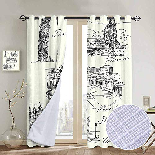 NUOMANAN Grommet Curtains Sketchy,Travel The World Themed Historical Italian Landmarks Venice Rome Florence Pisa,Black White,Blackout Draperies for Bedroom Window 52