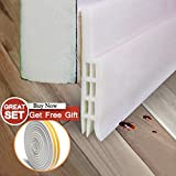 Door Sweep Weather Stripping Self Adhesive Tool Under Door Draft Stopper Sound Proof White 2