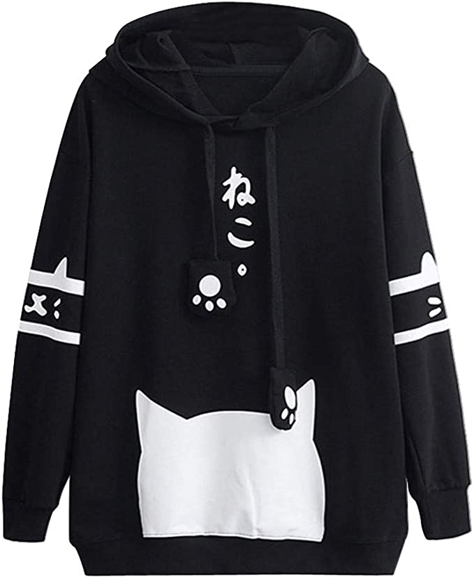 YoyoArt Women Casual 3D Cat Print Sweatshirt Long Sleeve O-Neck Pullover Blouse