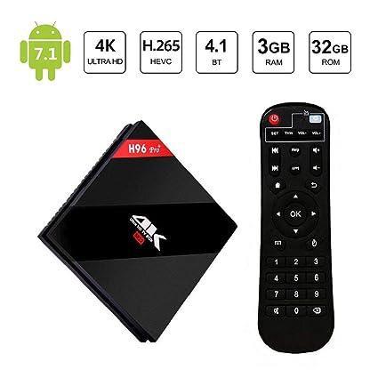 [ 2019 Upgraded ] H96 Pro Android 7 1 Smart TV Box 3GB RAM / 32GB ROM  Amlogic S912 Octa Core 64bit Supports 3D 4K Dual Band WIFI 2 4G /5G 1000M  LAN
