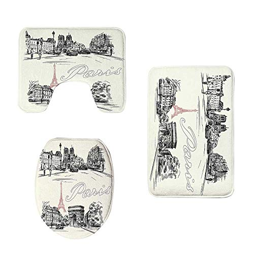 YOLIYANA Paris Decor Stylish Three Piece Toilet Seat Pad,Arch of Triumph Restaurant Monument Old Fashioned Paris Street Sketch Style Art for Toilet,One Size