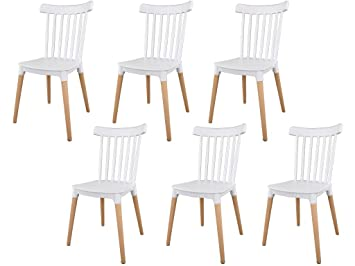IBH DESIGN Lot 6 Chaises Masena Blanc Chaise Scandinave