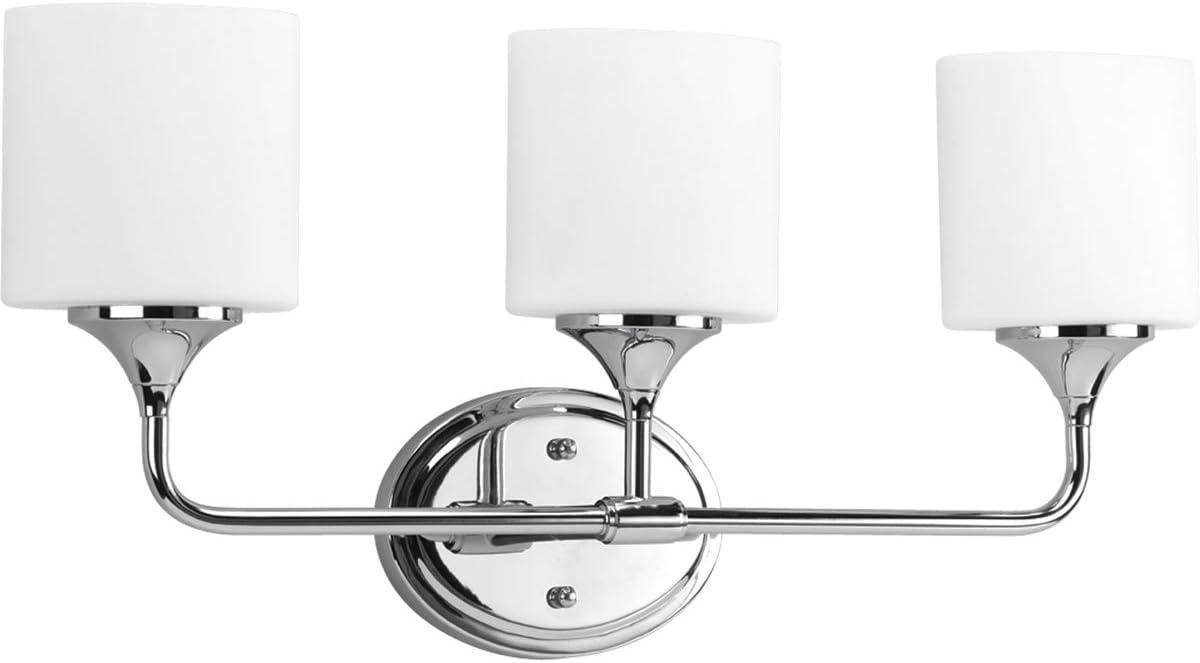 Progress Lighting P2803-15 3-Light Bath with Etched White Oval Shaped Glass Shades, Polished Chrome