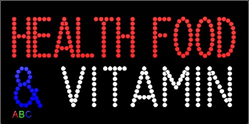 12''x24'' Health Food and Vitamin LED Sign w/Flashing Controller