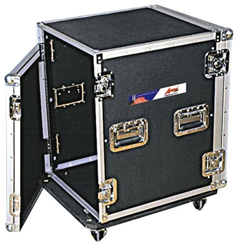 14U Amp Rack ATA Travel Case For DJs & Musicians - Chrome Steel Hardware With Heavy Duty Wheel Casters - 20