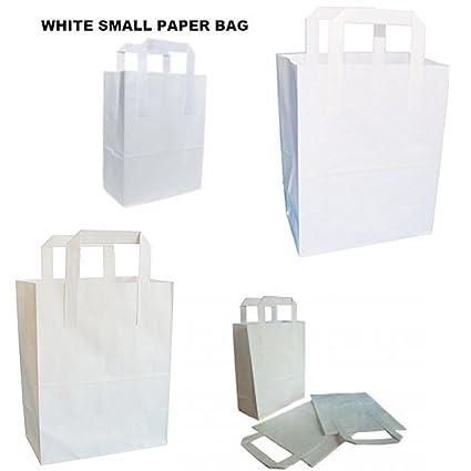 LIVERPOOL ENTERPRISES LTD Bolsas de papel para regalo, color blanco puro de Kraft Sos, tamaño aprox.: 18 x 10,5 x 8 pulgadas (180 + 90 x 205 mm), ...