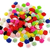 50pcs/lot 10mm Random mixed colours Flat Base Resin Flower Jewelry Beads DIY Finding Accessory