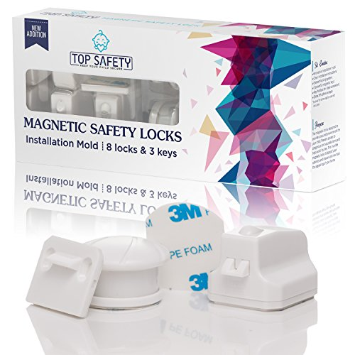 Baby Safety Magnetic Cabinet Locks - 8 Locks & 3 Keys Set W/ Installation Mold - Drill Free, No Tools, No screws, Childproof Drawers Lock W/ 3M Adhesive Tape, Cabinets Locking System By Top Safety