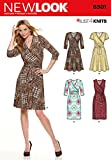 NEW LOOK U06301A Misses' Mock Wrap Knit Dress Sewing Template