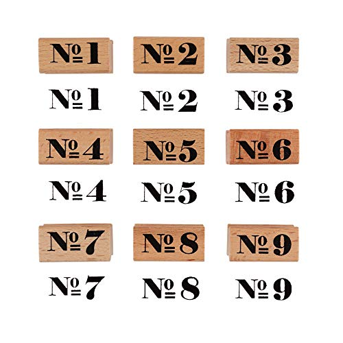 Dizdkizd 9 Pieces Wooden Rubber Stamps, Number 1-9 Decorative Multipurpose Wood Mounted Rubber Stamp Set for DIY Craft, Letters Diary and Craft Scrapbooking