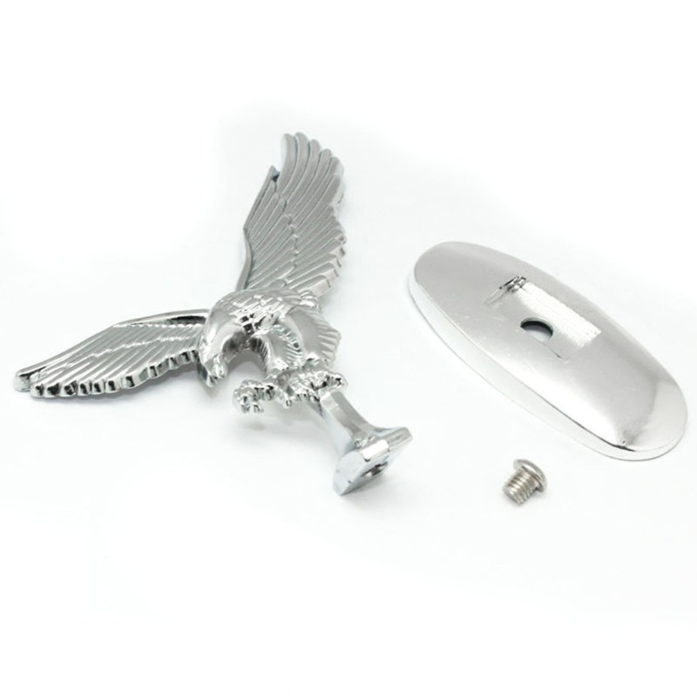 3D Car Front Cover Chrome Eagle Badge Car Cover for Auto Car Front Hood Ornament Emblems Silver-white