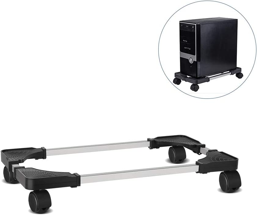 Retyion Mobile CPU Stand Adjustable Computer Tower Stand with Locking Caster Wheels Under Home Office Desk (Black) : Office Products