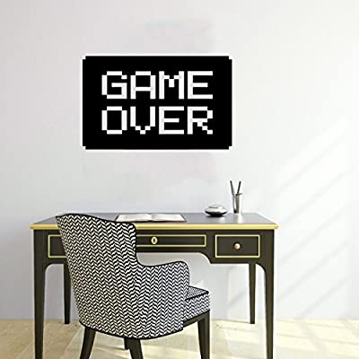 Wall Decals Game Over Logo Gamer Gaming Video Game Kids Children Gift Nursery Boys Room Wall Vinyl Decal Stickers Bedroom Murals