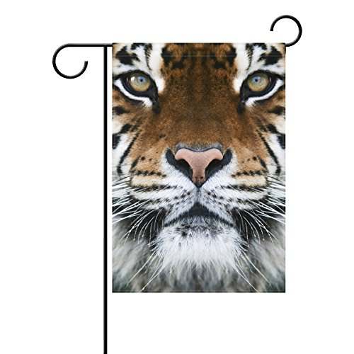 Home Polyester Fabric Garden Flags, Tiger Pattern Print Mildew Resistant Custom Waterproof Outdoor Flag,12